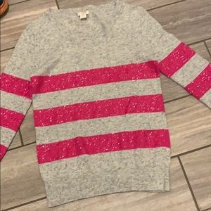 J Crew Grey and Pink Sequin Sweater